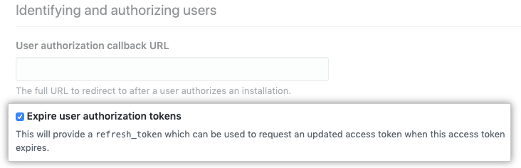 Option to opt-in to expiring user tokens during GitHub Apps setup
