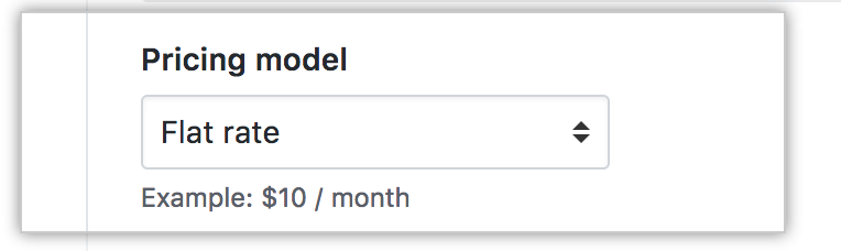 Dropdown to select the pricing model for your app