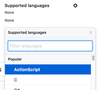 Dropdown for the supported languages for your app