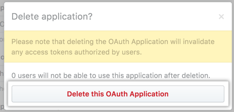 Button to confirm the deletion